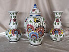 Delft blue polychrome hand painted vase ginger jar garniture faience floral