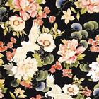 Cranes & Flowers Coral Ivory & Metallic Gold Asian Cotton Fabric by Red Rooster,