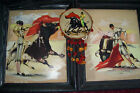 1950's Paintings Bullfighter Matador Galindo Mexico Set of 2  Painted Tambourine
