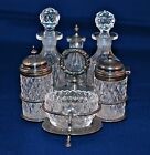 Antique Victorian Sterling Silver & Cut Glass 6 pieces Cruet Set HALL &Co.1896