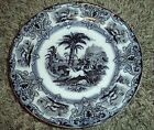 Antique FLOW BLACK Mulberry Staffordshire Ironstone Bread,Desert,Salad Plate #1