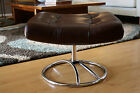Vintage Mid-Century Modern Early EKORNES Leather & Chrome OTTOMAN Norway