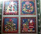 New Concord Fabrics Kessler 4 Christmas Old World Scenes Print Cotton Panels