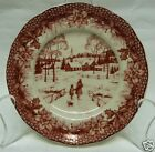 222 FIFTH POINSETTIA TOILE CHRISTMAS SET OF 4 PLATES ~ APPETIZER DESSERT HOLIDAY
