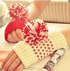 Christmas Style Knit Open Finger Mittens/ Gloves - Red & White