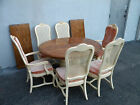 FRENCH PARQUET PAINTED DINING TABLE WITH 6 CANED CHAIRS & 2 LEAVES #6167