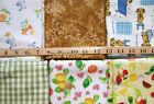 Yellow White Fruit Animals Dog Green Plaid Flannel Cotton Fabric Material Bundle