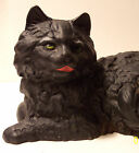 vintage hubley mold cast iron hollow fireside doorstop cat iron art black