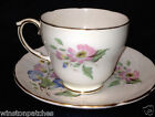 DUCHESS ENGLAND CHATSWORTH CUP & SAUCER PINK BLUE FLOWERS GOLD TRIM BONE CHINA