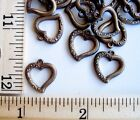 7 Vintage Antiqued Brass Stampings Small Open Heart Charms Victorian BR17