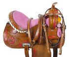 15 PINK LIME GREEN HAND PAINTED ROSE BARREL RACING WESTERN HORSE SADDLE TACK