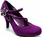 New womens shoes purple suede like flower rhinestones stilettos high heel pumps