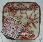 222 FIFTH ADELAIDE MAROON SET OF 4 PLATES Toile Birds ~ SNACK APPETIZER CAKE RED