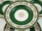 Lovely 4Pc Limoges Wm Guerin & Co Emerald Green & Gold Floral Soup Bowl Set MINT