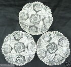 VINTAGE CUT GLASS OR CRYSTAL SHALLOW DISH/BOWL SET OF 3 PINWHEEL PATTERN