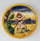 Italy Child Putti plate Handpainted Majolica Vintage Garden OLD