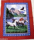 HORSE FABRIC PANEL PATRIOTIC QUILT TOP WALLHANGING eagle & Horses NEW! FREE SHIP