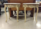 2 VINTAGE,POST-1950,ITALIAN ROCOCO,MARBLE TOP,ORNATE,IVORY TONE,ROUND,END TABLES