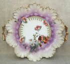 RS PRUSSIA PURPLE CAKE PLATE TRAY SCALLOP SHELL MOLD POPPY + WILD FLOWER HANDLES