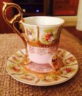 PRICE CUT!!! Small Cup & Saucer - Gold Trimmed - With Beehive Marking