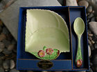 Vtg Carlton Ware UK Jam Dish & Spoon Primula Leaf Shape Primrose Wild Rose 1950