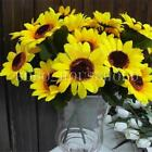 2 Bunch 14 Heads Artificial Sunflowers Posy Bouquet Home Memorial