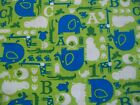 Baby Safari Jungle Zoo Animals Blue Green White Snuggle Flannel Fabric BTY