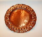 Vintage Gregorian Solid Copper Platter Plate Plaque Tray Charger Grapes Leaves