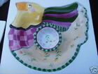 Chip & Dip Set hors d'oeuvres Large Fitz & Floyd Gypsy Chicks 2 pc 15x12 NIB