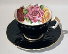 Vintage AYNSLEY RED PINK & YELLOW CABBAGE ROSE Cup & Saucer Set OLEANDER SHAPE