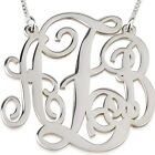 Sterling Silver XXLarge 2″ Split Monogram Necklace Personalized Initial Pendant
