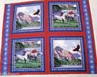 HORSE FABRIC soaring eagles PATRIOTIC HORSES 4 pillow fabric PANEL FREE SHIP BTY