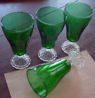 4 Vintage Anchor Hocking Forest Green Bubble Boopie 11 oz Footed Water Goblets