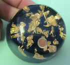 VINTAGE Alaska Souvenir Lucite Paper Weight - REAL Gold Flakes Mining Tools Blue