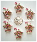 6PC GLITTER GINGERBREAD HOUSE CHRISTMAS RESIN FLATBACK 4 HAIRBOW BOW CENTER
