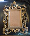 Antique Late 1800's Victorian Cast Brass Gold Ormolu Rococo Picture Frame