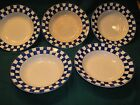 Set of 5 Style Eyes by Baum Bros Blue Checked Rimmed Soup Bowls