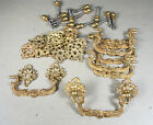 Fire-gilded Ornate Solid Brass Rosette & Bail Drawer Pulls, 8 Sets