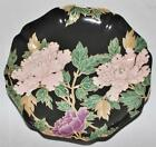 Fitz & Floyd Cloisonne Peony Black Fluted or Ruffled Accent Salad Plate