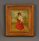 ANTIQUE EUROPEAN OIL PAINTING - GIRL IN RED SKIRT WITH YELLOW FLOWERS