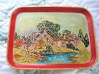 French Country Paper Mache Tole Tray Cottage Scene Hand Painted Vintage Red Trim