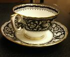 Crown Staffordshire Tea Cup and Saucer, Ellesmere black Pattern