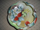 ANTIQUE~NORITAKE~HAND PAINTED STRAWBERRIES~GILT~FOOTED SCALLOPED BOWL~CIRCA 1891