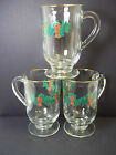 Irish Coffee footed glasses HOLLY & BERRY Lot of 3 gold rim Libbey 8oz Vintage
