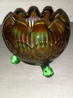 Northwood beaded cable rosebowl, rayed interior! mint