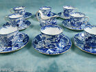 ANTIQUE 1920's BLUE MIKADO ROYAL CROWN DERBY COFFEE TEA SET for 8