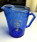 Vintage HAZEL-ATLAS Cobalt Blue Glass SHIRLEY TEMPLE Pitcher