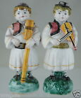 VINTAGE HUNGARY ART POTTERY FIGURINE PAIR FOLK MUSICIAN VIOLIN HORN SIGNED