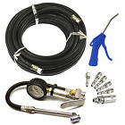 Air line / hose with Tyre / Wheel Inflator, Blow Gun & Air Fitting Accessory Kit