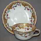 Vintage ROYAL CROWN DERBY CUP & SAUCER Porcelain England GOLD & Rose Garlands